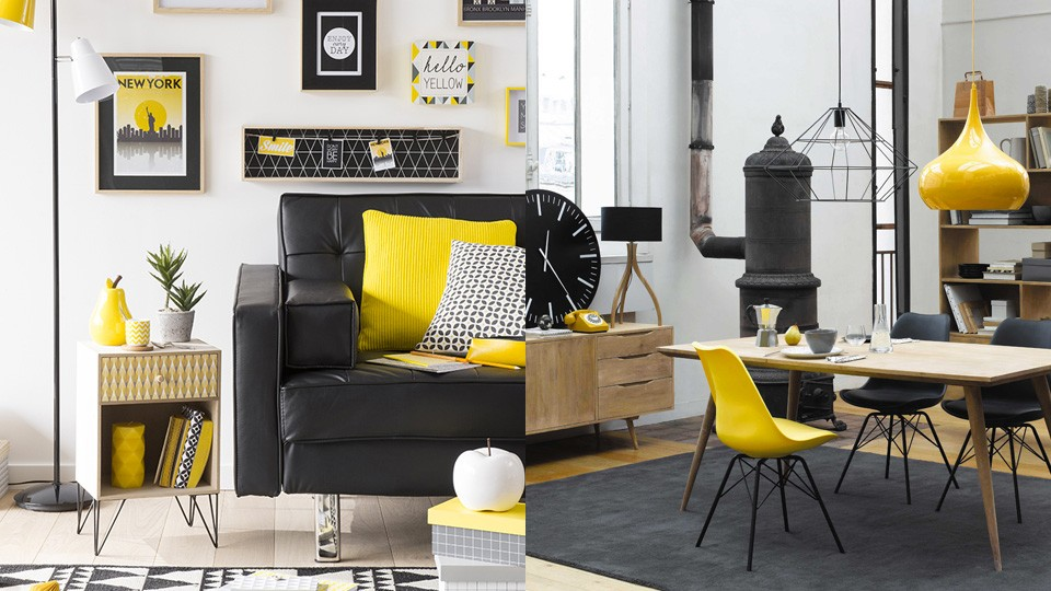 S lection d co graphique en jaune et noir shake my blog for Deco salon style new york