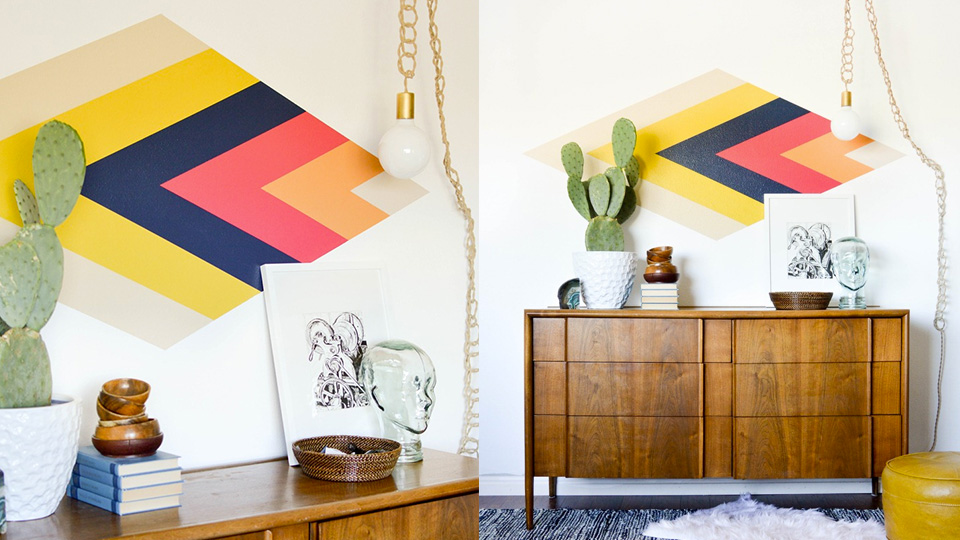 Une d co murale g om trique diy shake my blog - Decoration murale geometrique ...