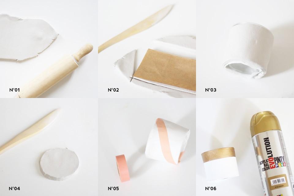 cache pot carton ceramique diy