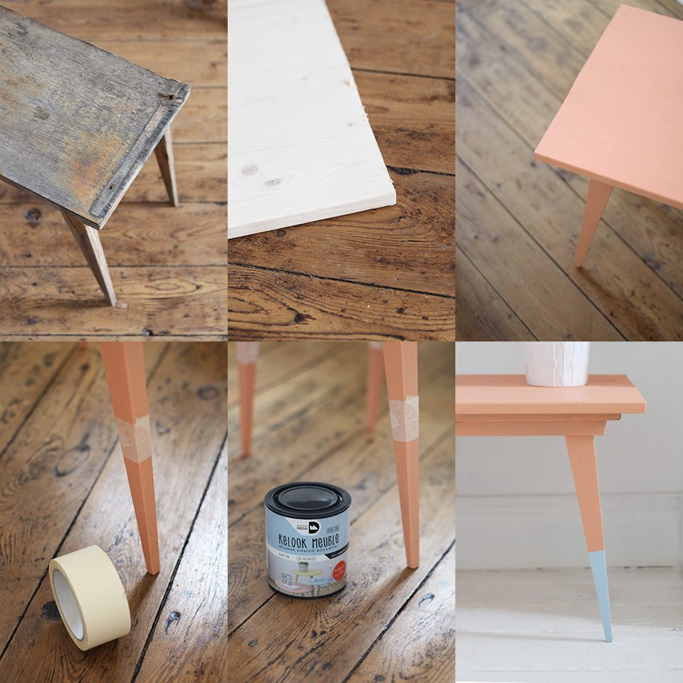 Une table basse vintage color e diy shake my blog - Peindre une table basse ...
