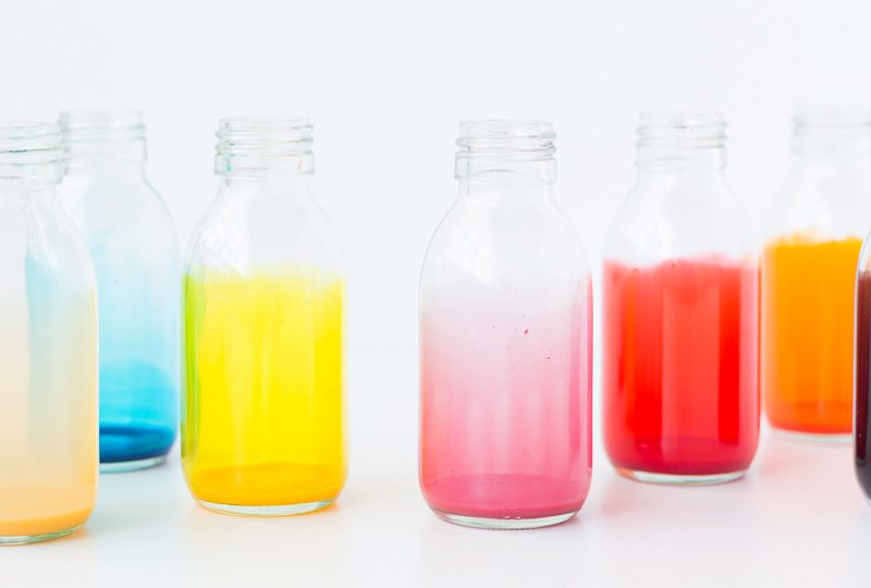 bouteille verre coloree diy