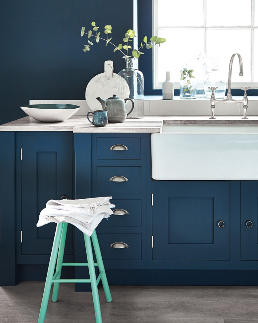 deco bleu canard cuisine portes meubles