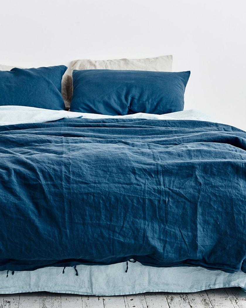 deco bleu canard chambre linge de lit en lin