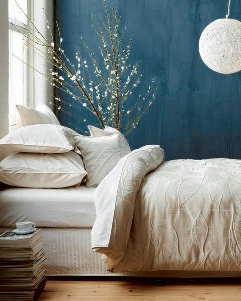 deco bleu canard beige chambre linge de lit