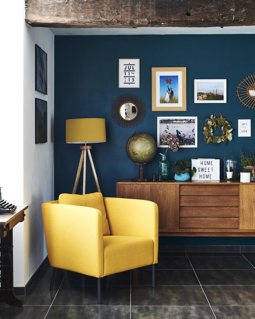 deco bleu canard jaune fauteuil moderne