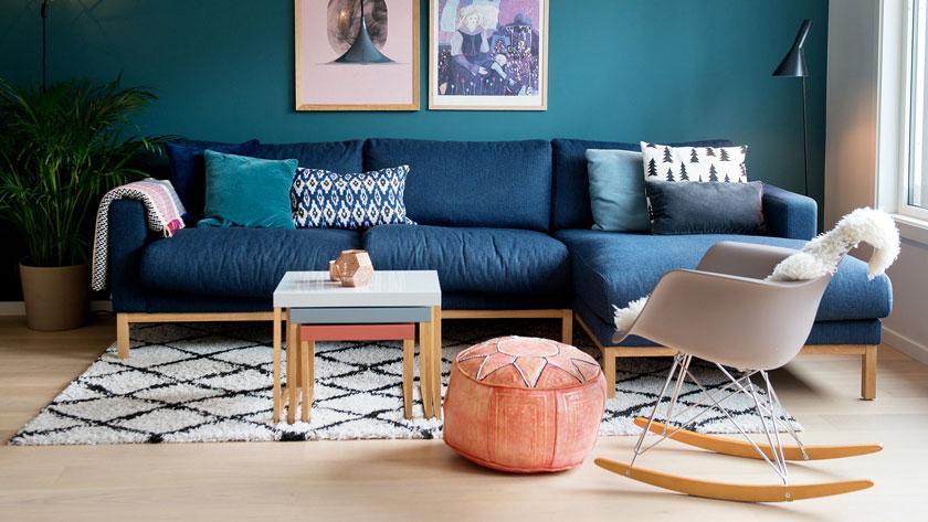 deco bleu canard salon mur peint