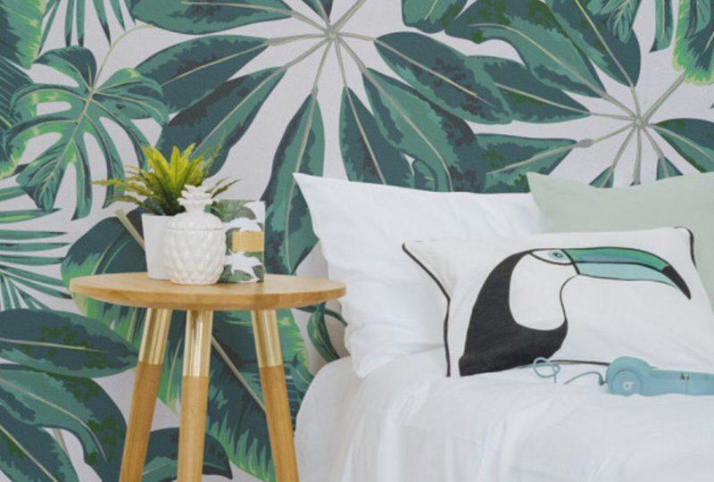 papier peint tropical chambre