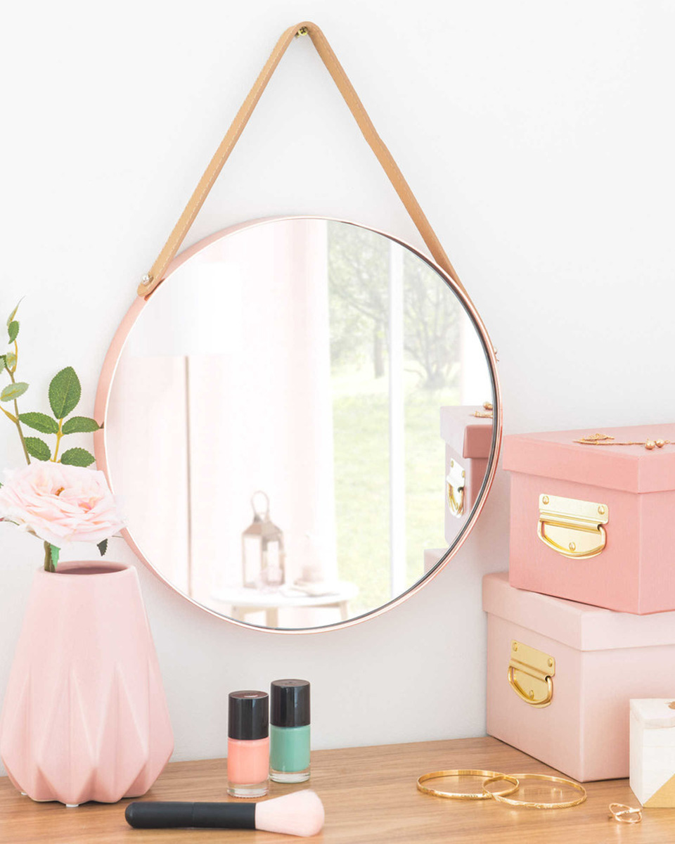 miroir rond deco cuivre cuir