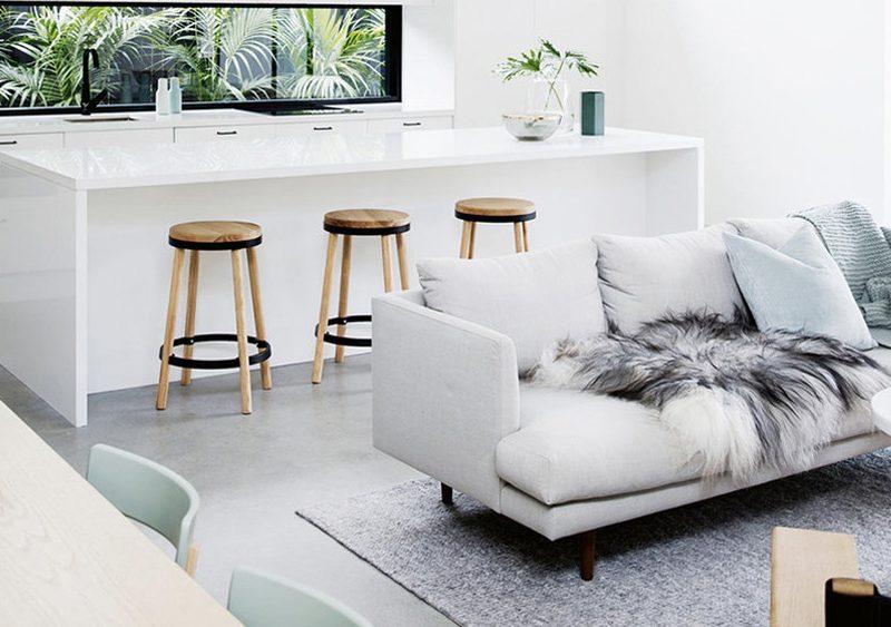 salon deco contemporaine vert menthe