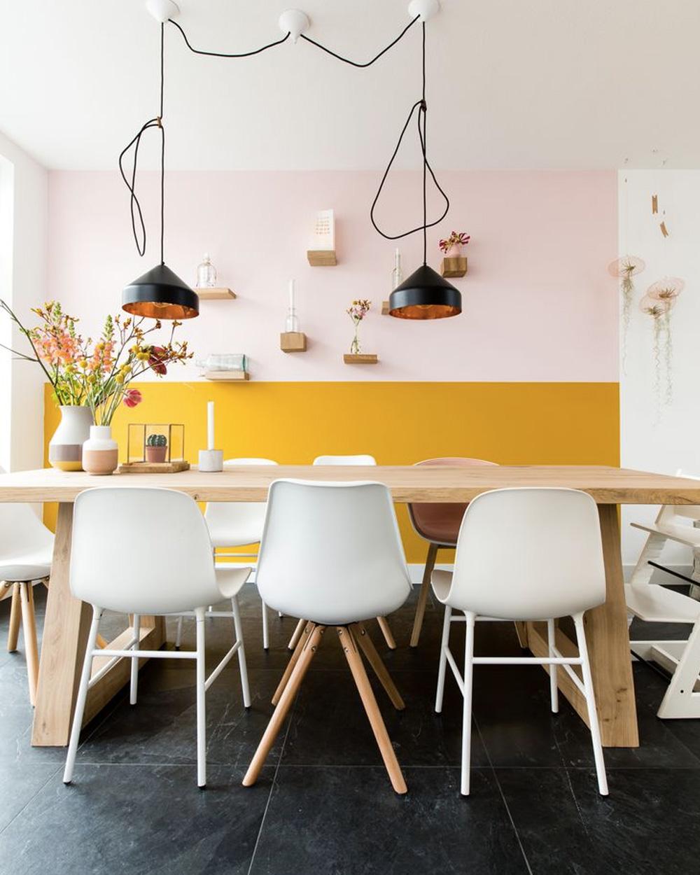 deco rose jaune salle à manger