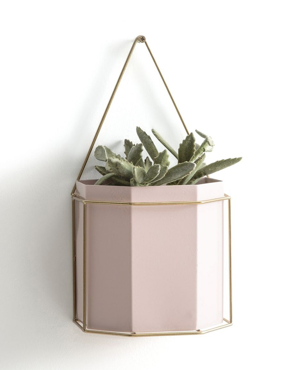suspension plante diy métal rose
