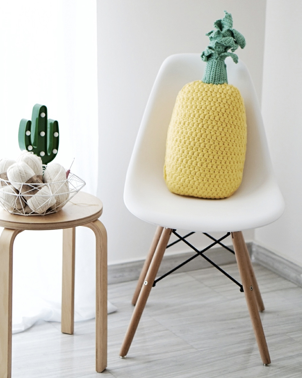 coussin tricot diy ananas