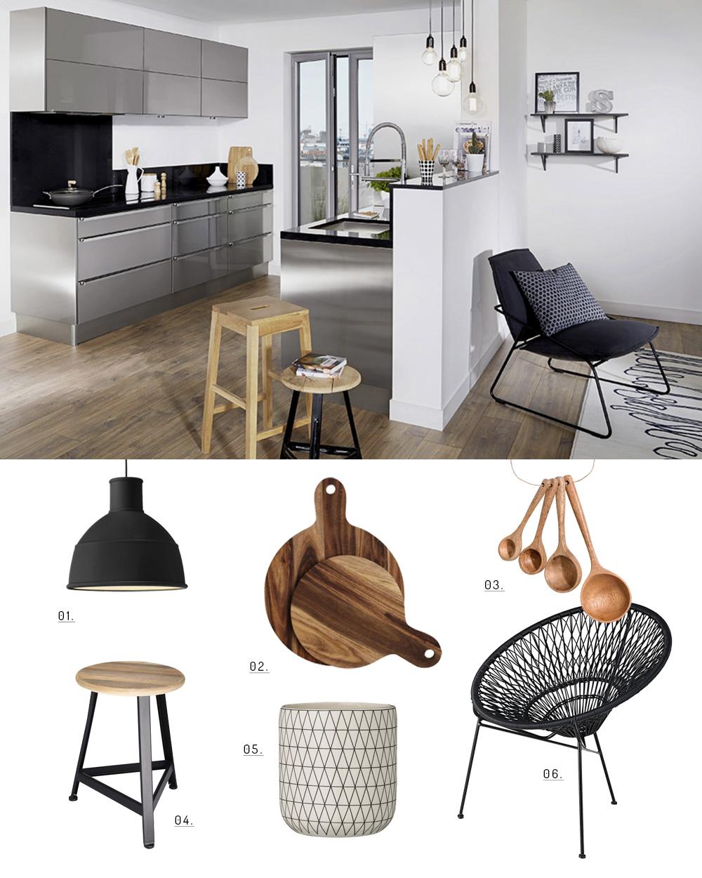 une d co de cuisine contemporaine en noir et bois shake my blog. Black Bedroom Furniture Sets. Home Design Ideas