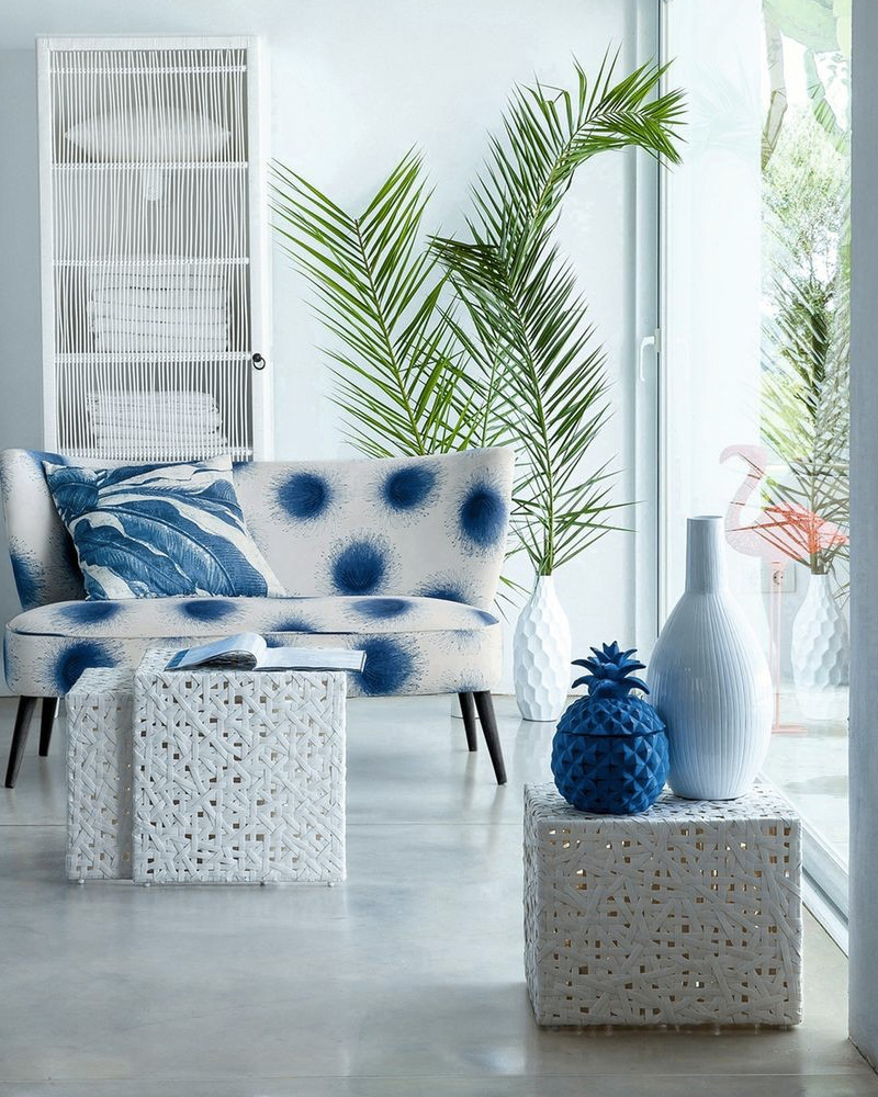 Beau Deco Salon Bleu Pot Ananas
