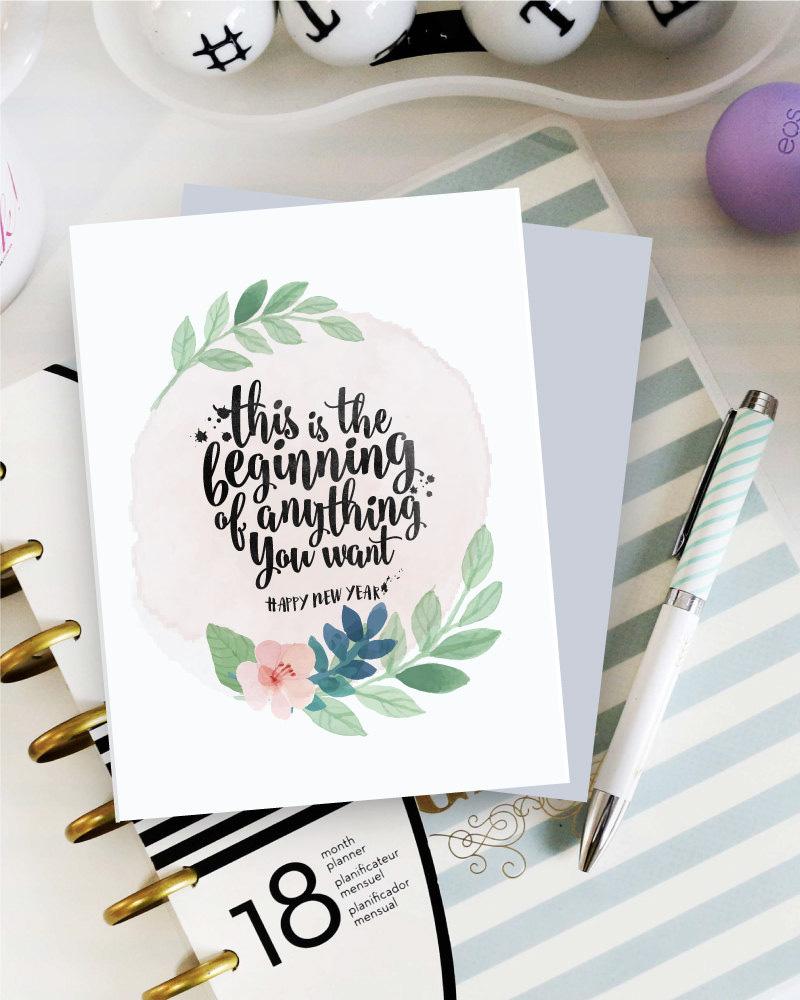 diy carte de voeux à imprimer couronne de fleurs