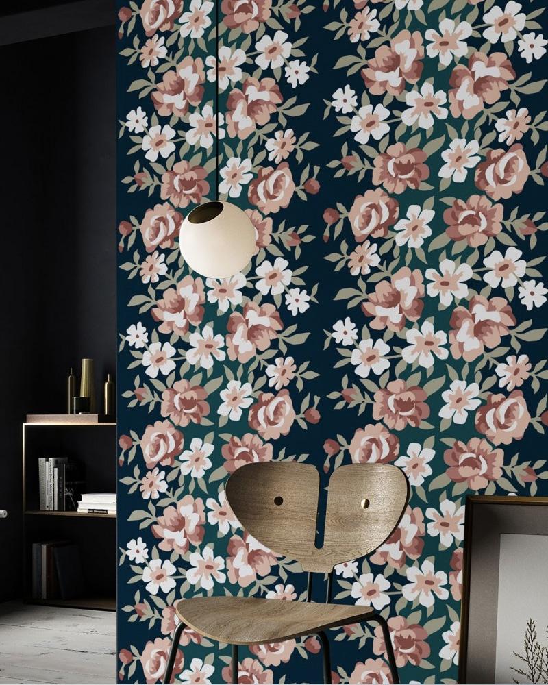papier peint deco apple blossom navytrait français