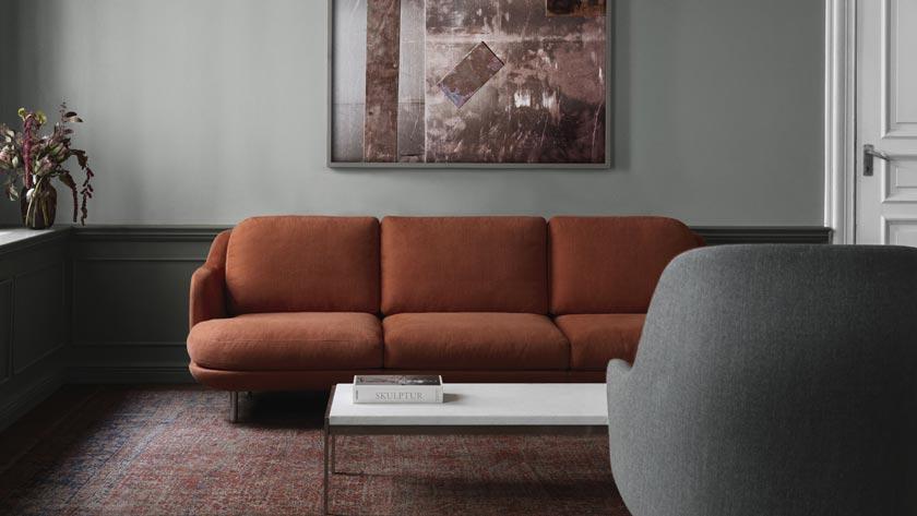 deco couleur terracotta mur gris canapé salon