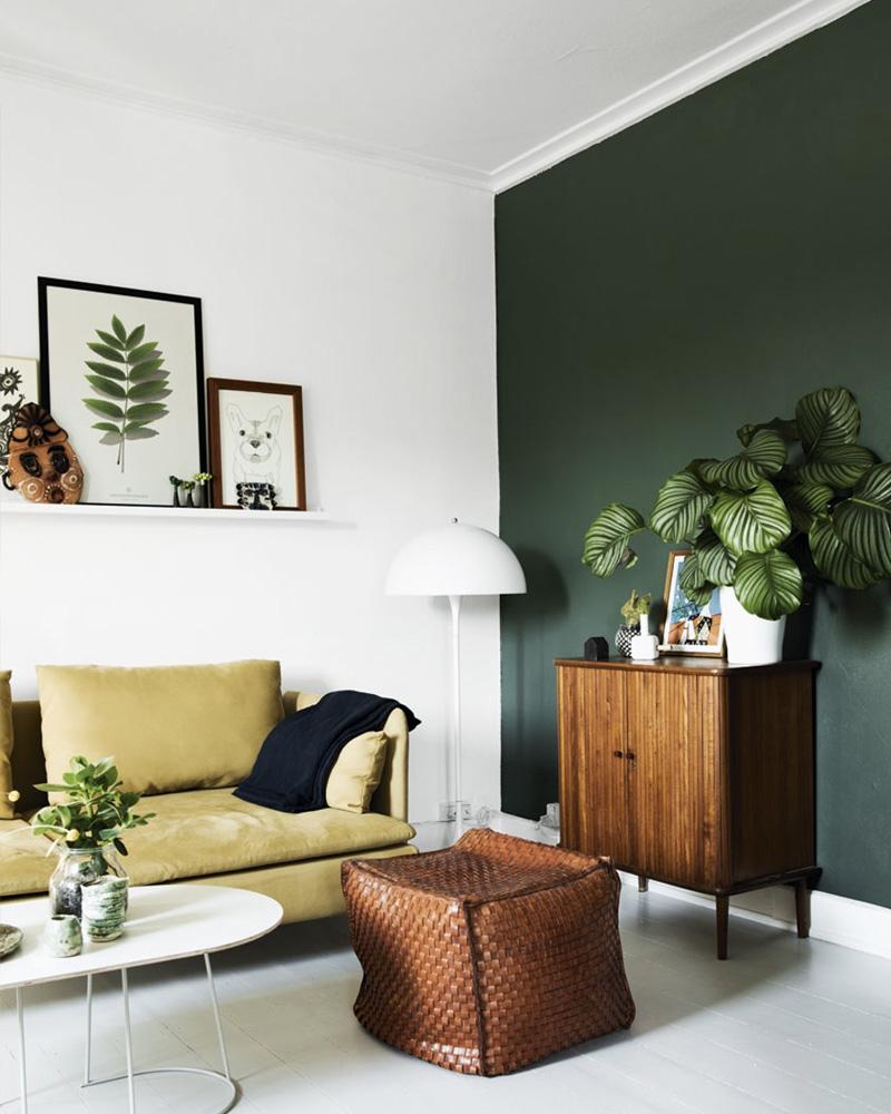deco salon vert mur