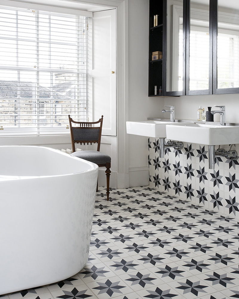des carreaux de ciment dans la d co de la salle de bain shake my blog. Black Bedroom Furniture Sets. Home Design Ideas