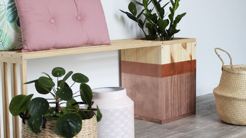 banc pot plante bois diy