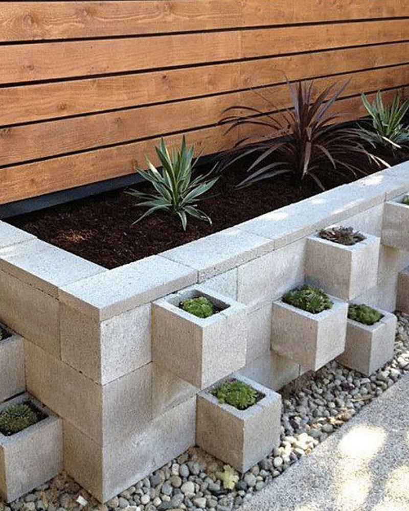 5 jardini res diy avec des blocs en b ton shake my blog. Black Bedroom Furniture Sets. Home Design Ideas