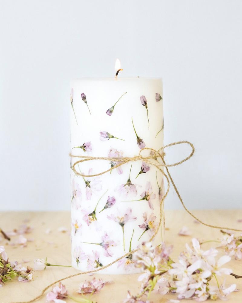bougie diy fleurs séchées