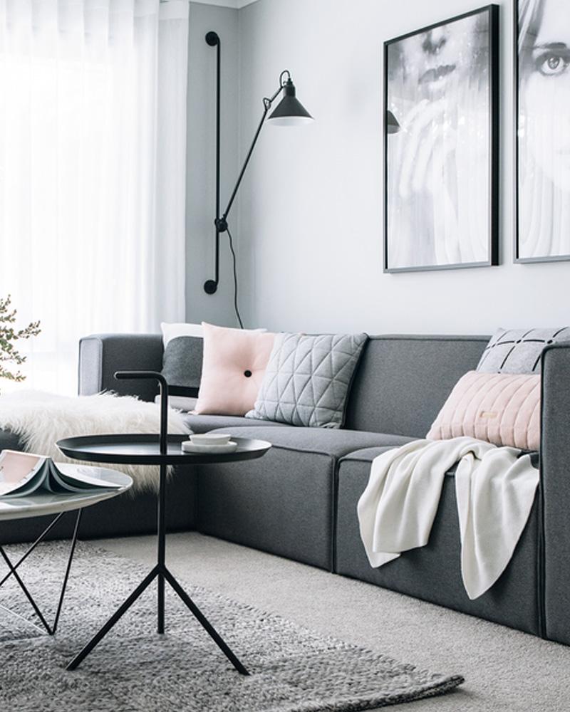 deco salon gris blanc canapé