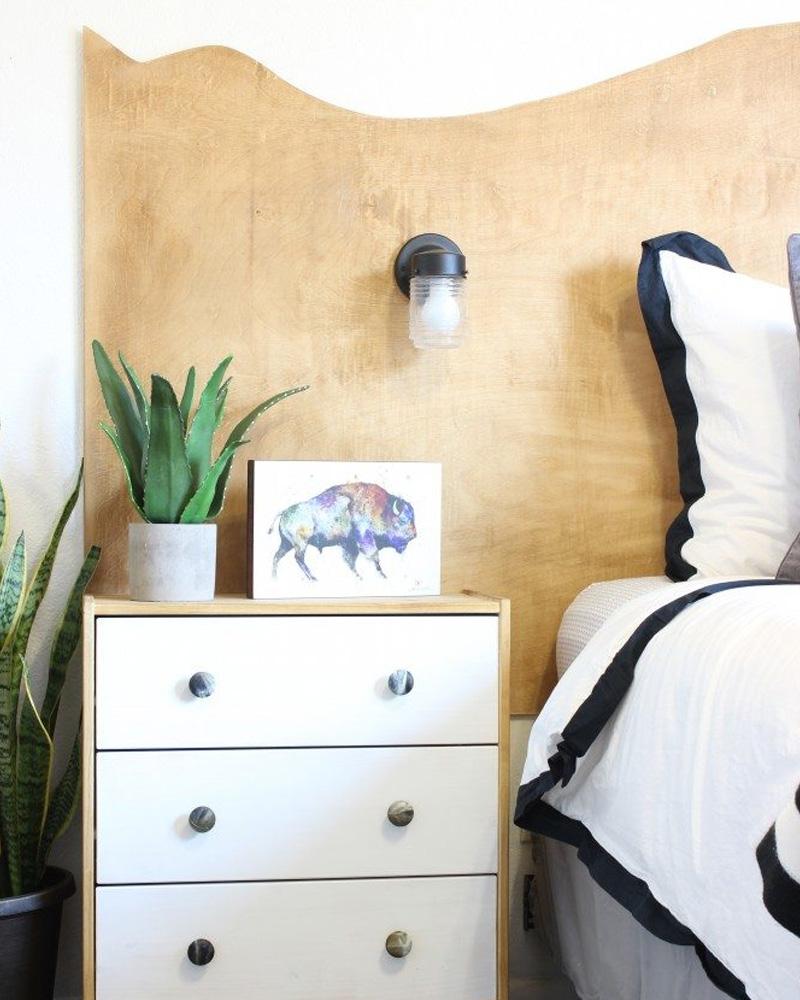 tete de lit diy bois dorée