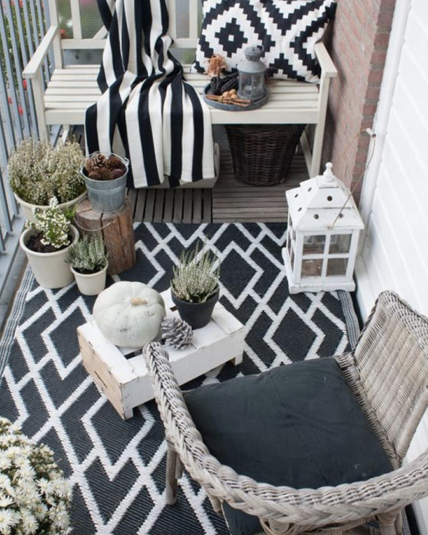 deco balcon cosy automne tapis extérieur