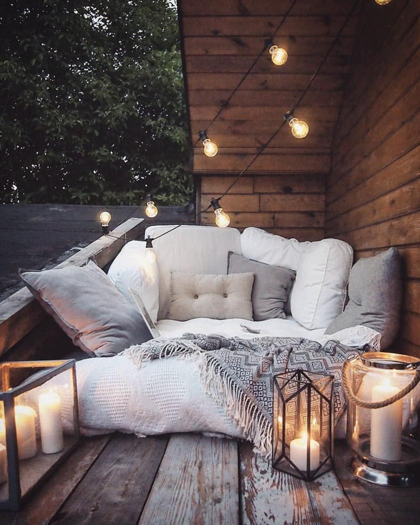 deco balcon cosy automne plaid