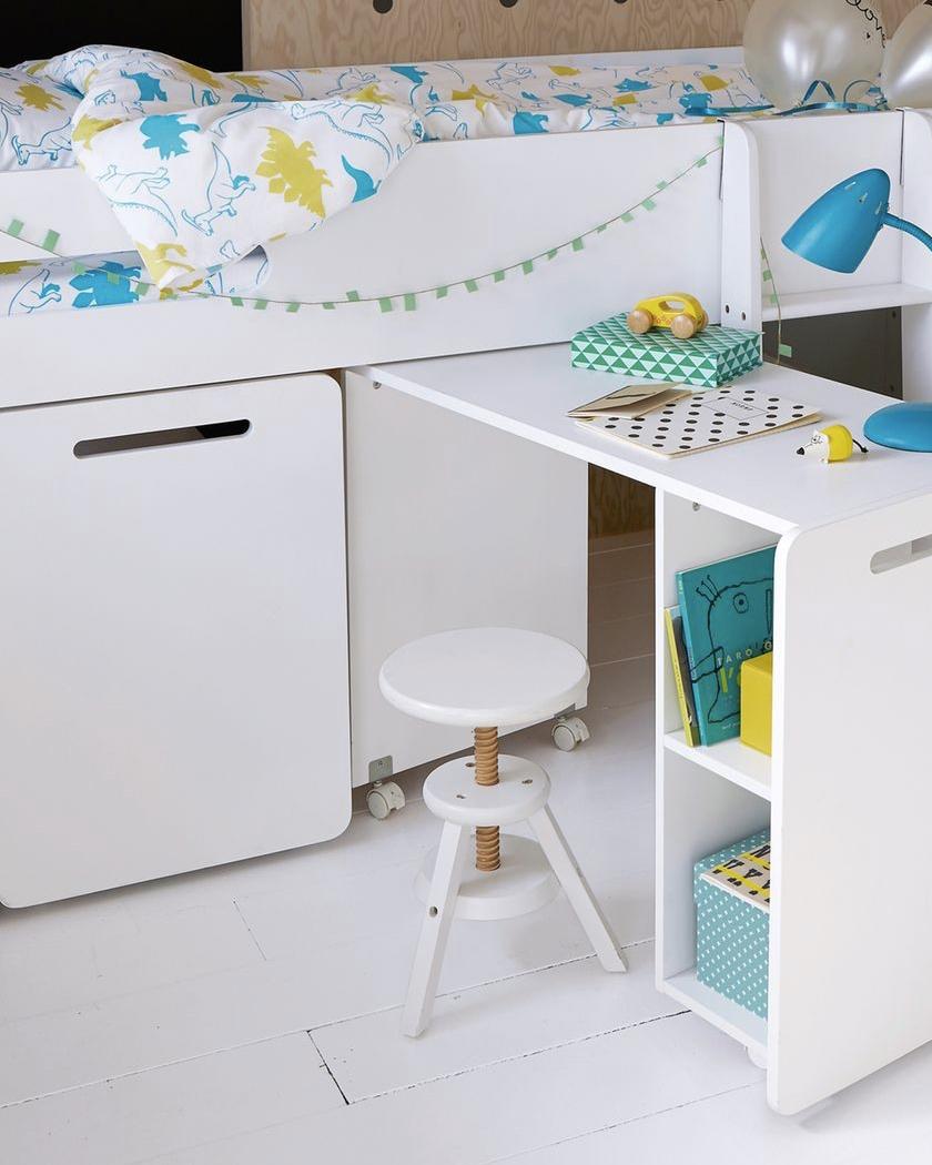 deco chambre blanc bois tabouret