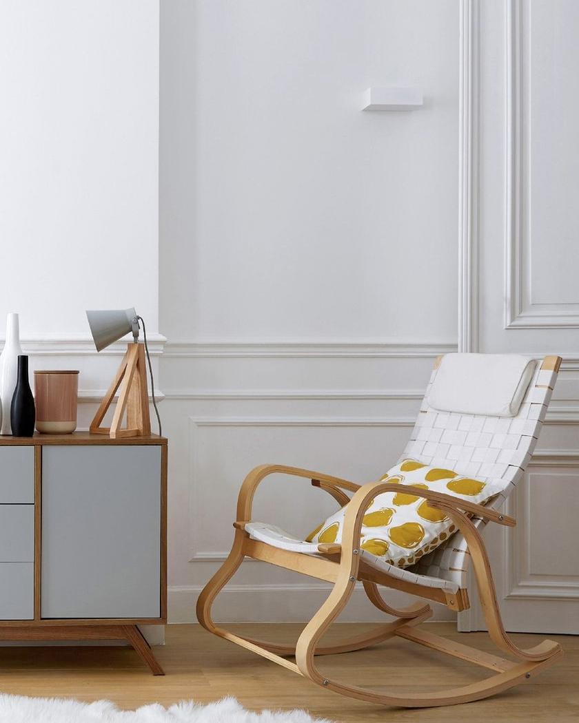 deco chambre blanc bois rocking chair