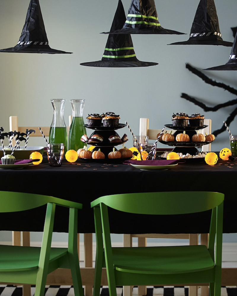 deco table halloween vert noir