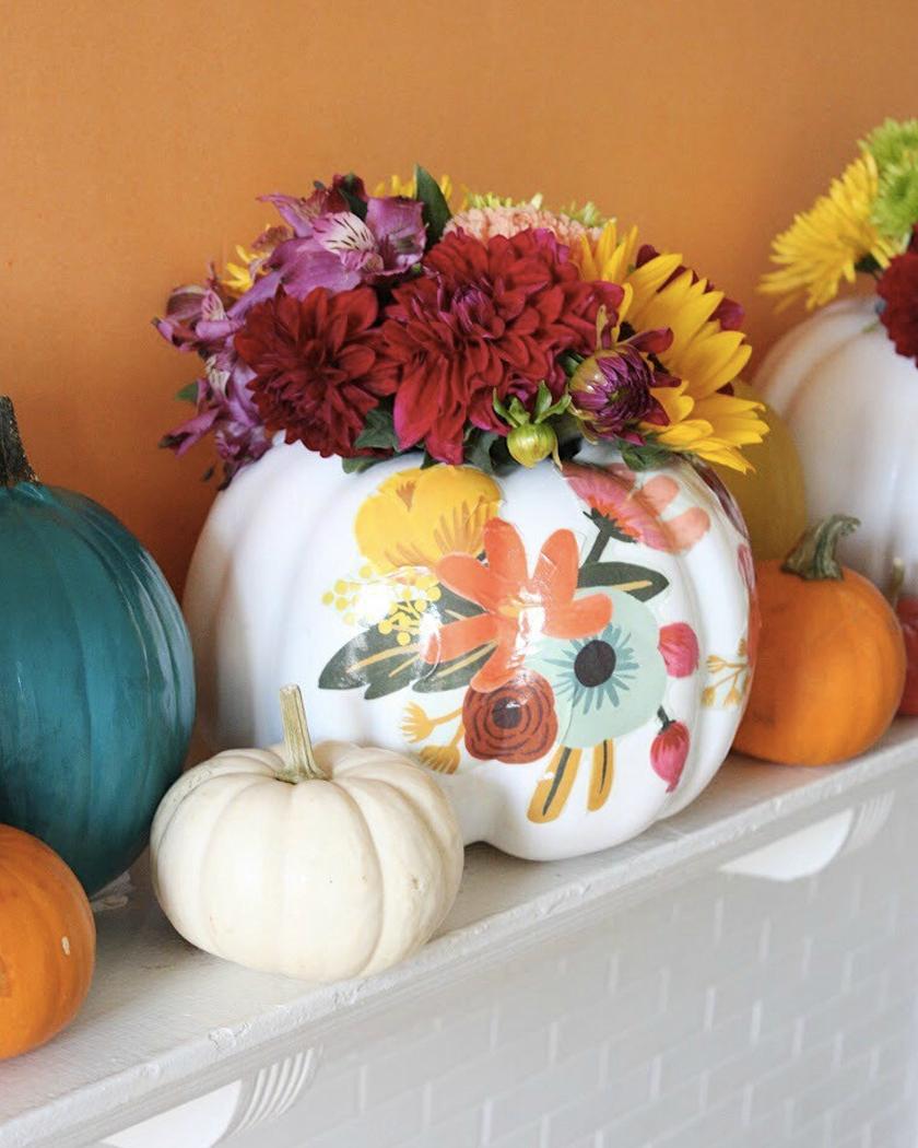 diy citrouille halloween vase