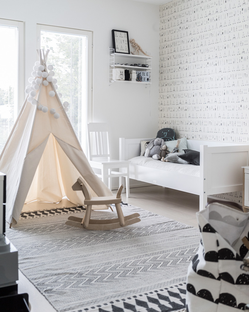tipi chambre enfant beige blanc