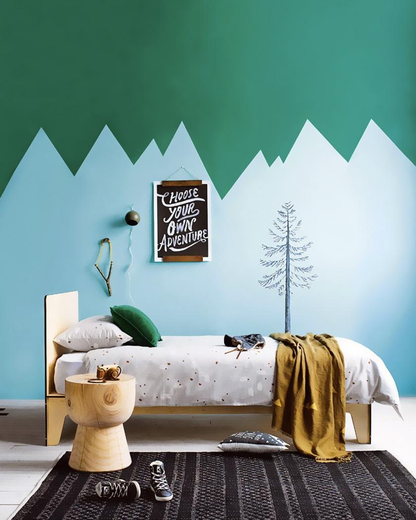mur montagne chambre enfant peinture