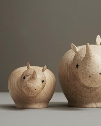 mini rhinocéros en bois