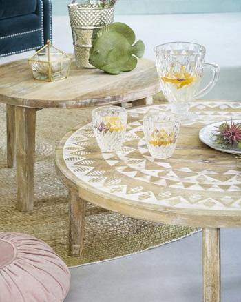 table basse bois ronde manguier motifs blancs