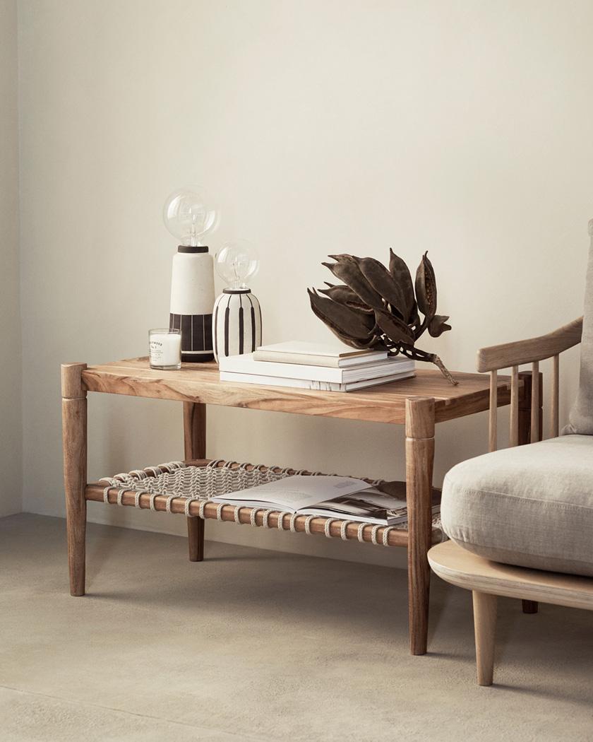 table basse bois salon rectangulaire tissage