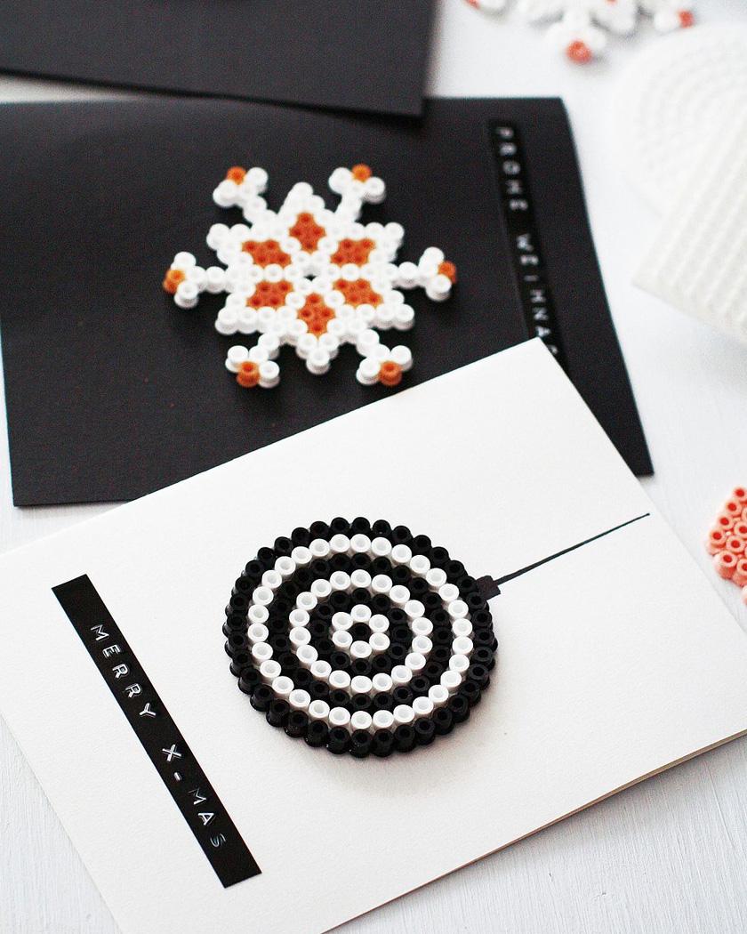 carte noel diy étoile papier perle collante