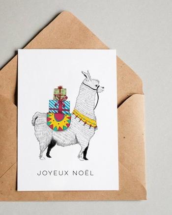carte joyeux noel lama