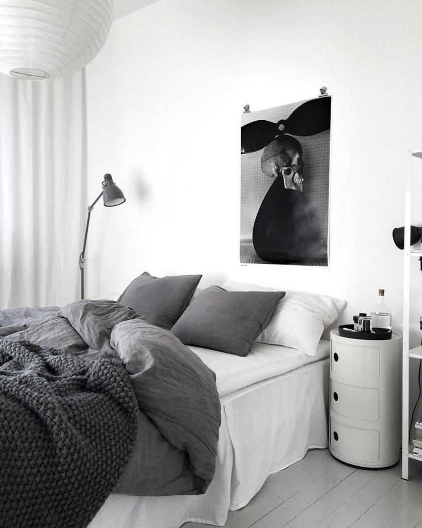 deco chambre parentale moderne blanc et gris