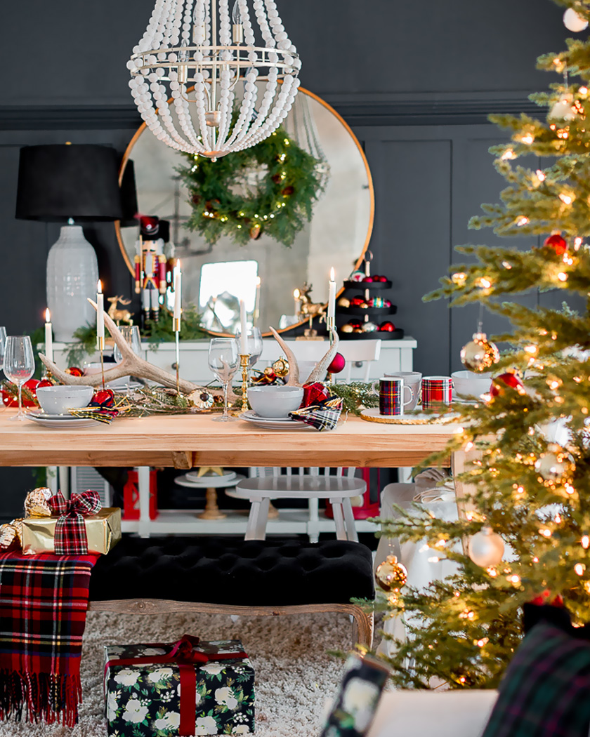 deco table noel traditionnelle tartan
