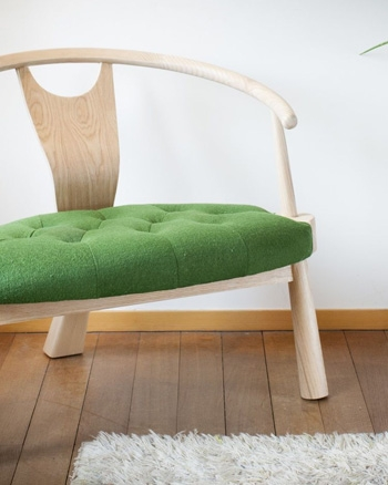 fauteuil scandinave trois pieds vert