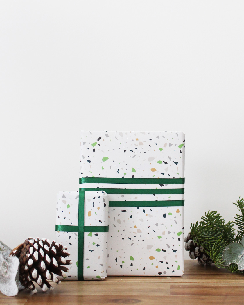papier cadeau noel à imprimer terrazzo