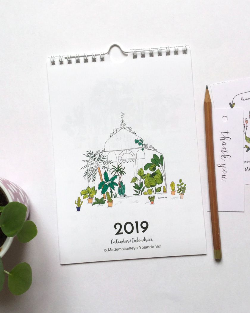 calendrier 2019 mural plantes