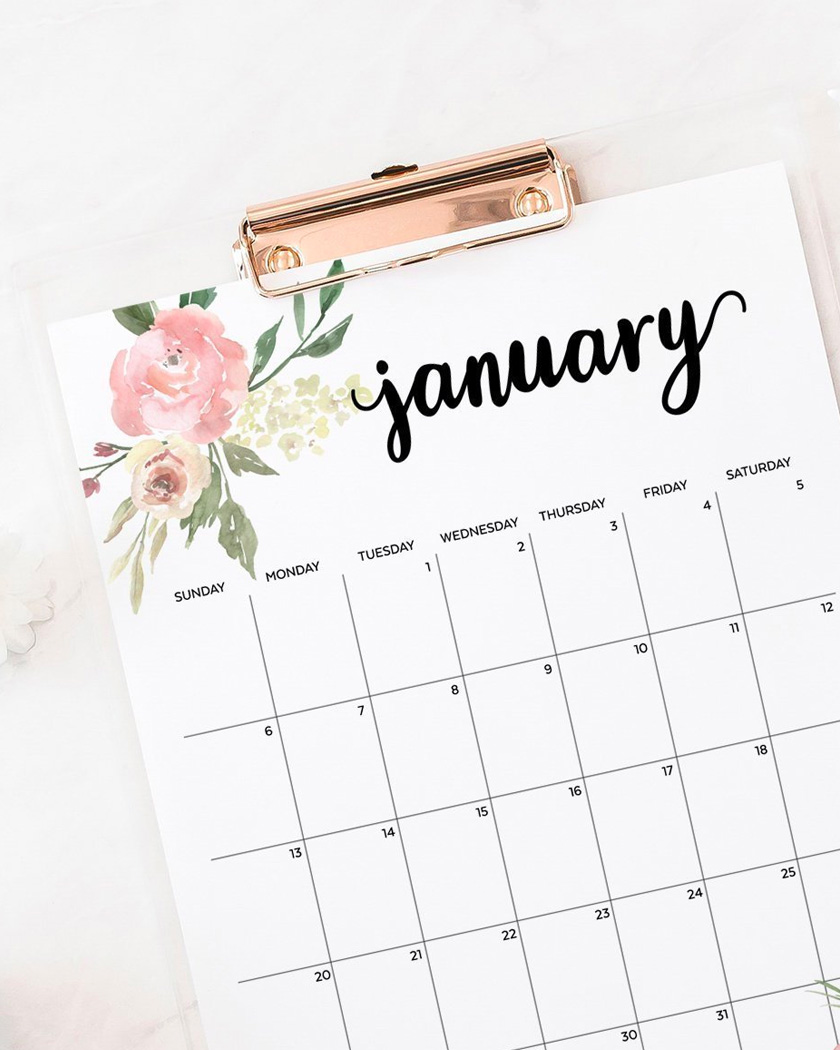 calendrier 2019 a imprimer floral