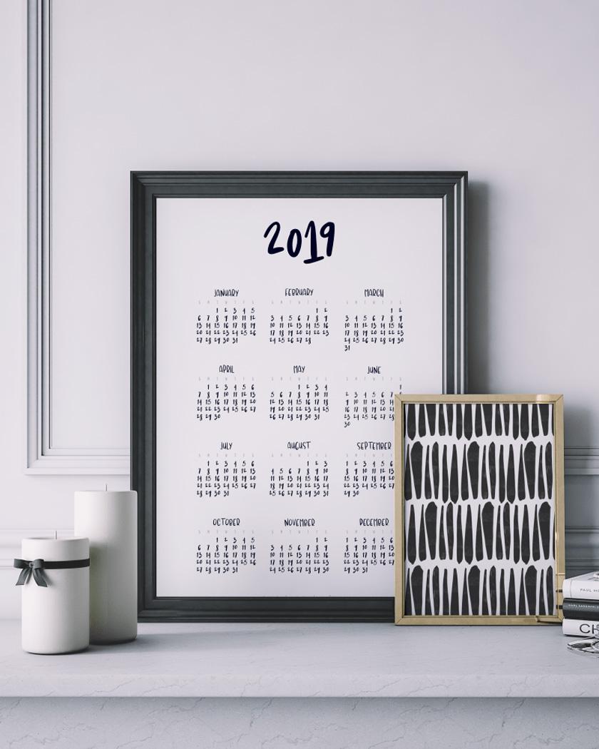 calendrier 2019 gratuit à imprimer noir blanc A3
