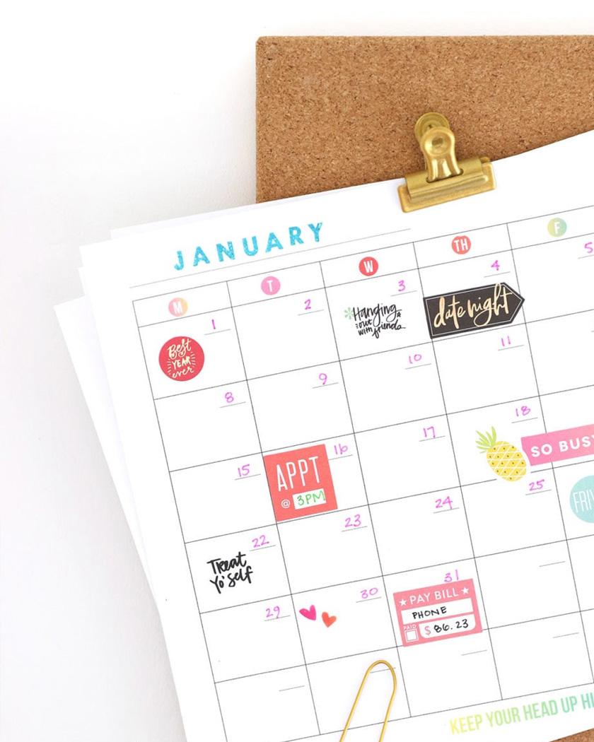 calendrier 2019 gratuit à imprimer coloré organiseur