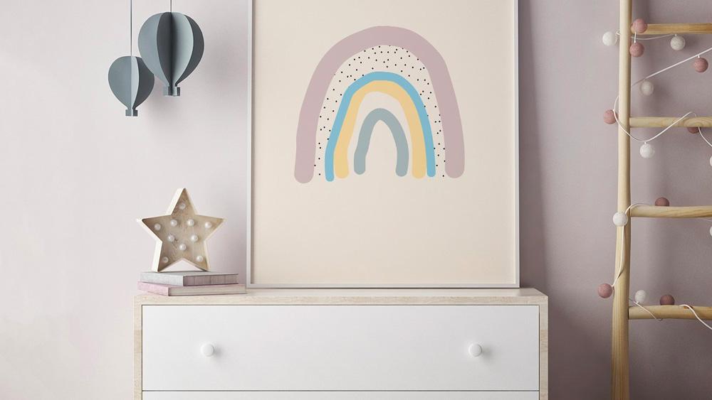 Une décoration arc en ciel dans la chambre des enfants ...